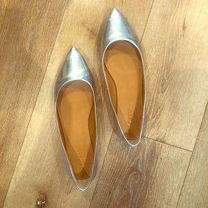 J crew Amelia mirror metallic pointy toe flats